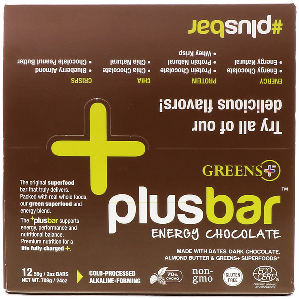 Plusbar, Energy Chocolate, 12 Bars, 2 oz (59 g) Each