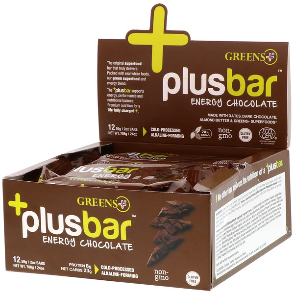 Greens Plus, Plusbar, Energy Chocolate, 12 Bars, 2 oz (59 g) Each