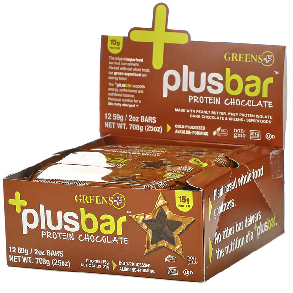 Plusbar, Protein Chocolate, 12 Bars, 2 oz (59 g) Each