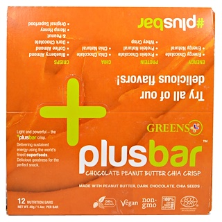Greens Plus, Vegan Crisp Bars, Peanut Butter & Dark Chocolate, 12 Bars, 1.4 oz (40 g) Each