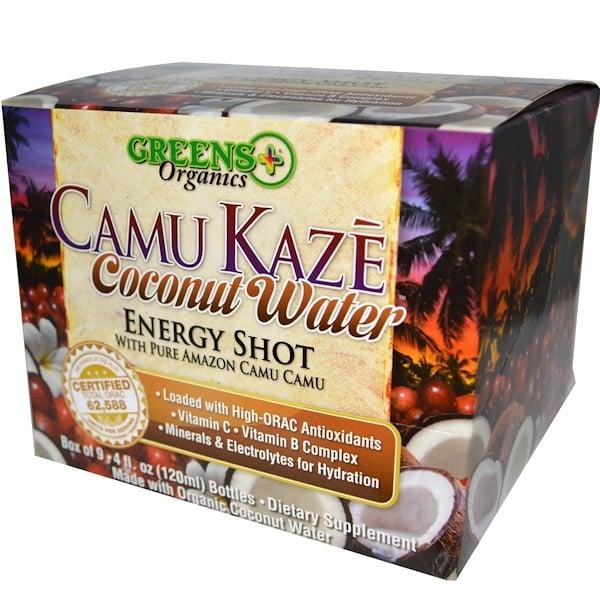 Greens Plus, Camu Kaze, Energy Shot, Coconut Water, 9 Bottles, 4 fl oz (120 ml) Each (Discontinued Item)