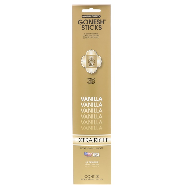 Gonesh, Extra Rich Incense Sticks, Vanilla, 20 Sticks (Discontinued Item)