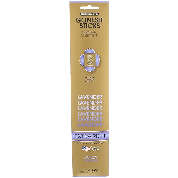 Gonesh, Extra Rich Incense Sticks, Lavender, 20 Sticks