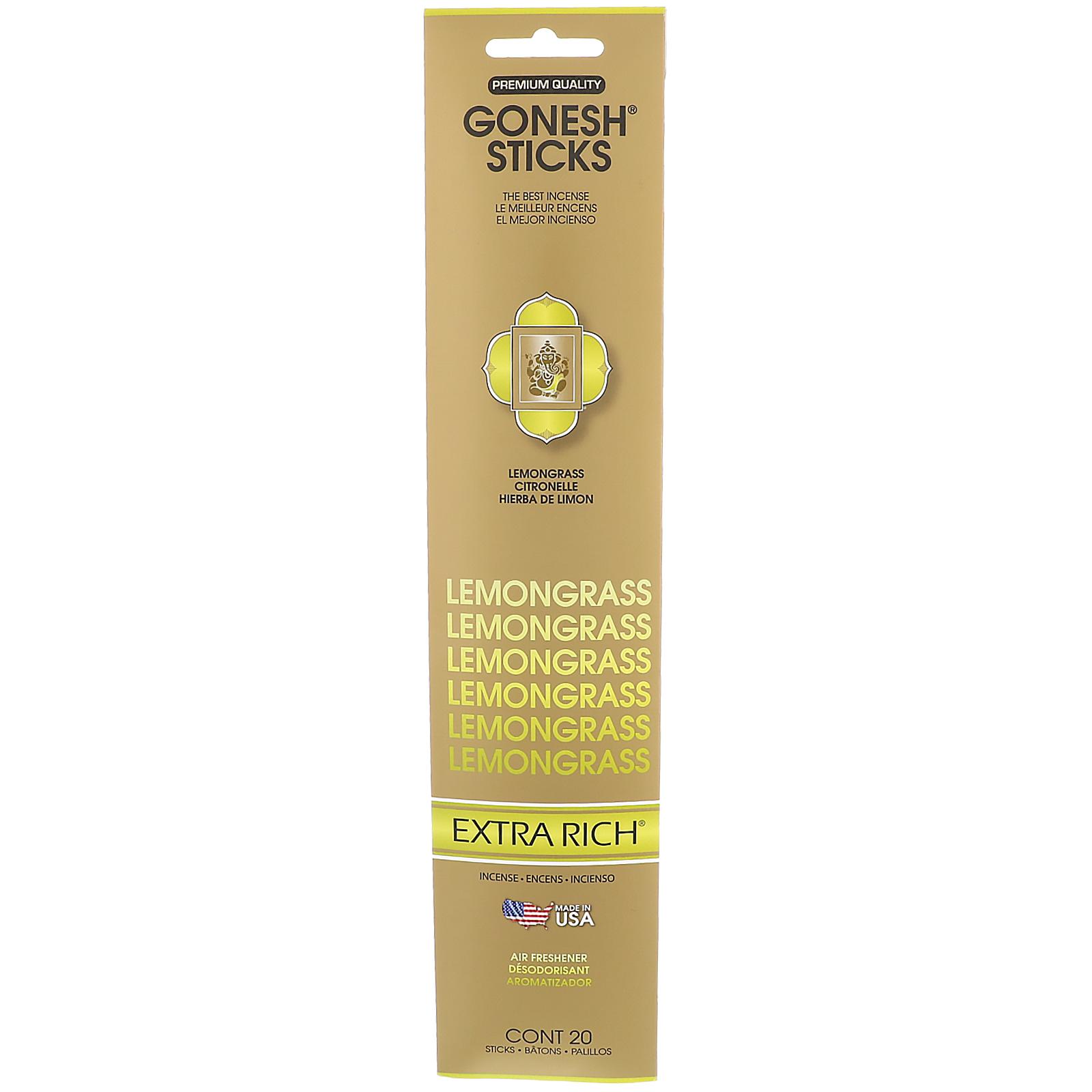 Gonesh, Extra Rich Incense Sticks, Lemongrass, 20 Sticks - iHerb com
