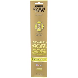 Gonesh, Extra Rich Incense Sticks, Lemongrass, 20 Sticks