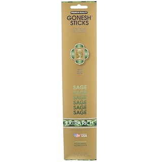 Gonesh, Extra Rich Incense Sticks, Sage, 20 Sticks