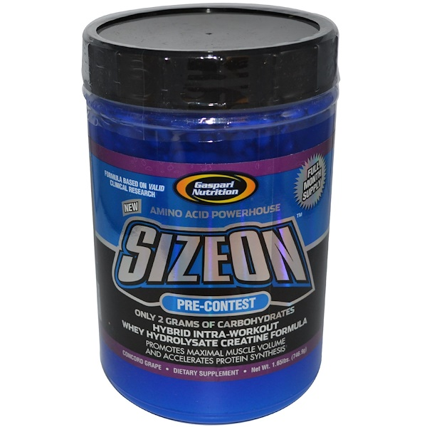 Gaspari Nutrition, SizeOn, Pre-Contest, Whey Hydrolysate Creatine Formula, Concord Grape, 1.65 lbs (746.9 g) (Discontinued Item)