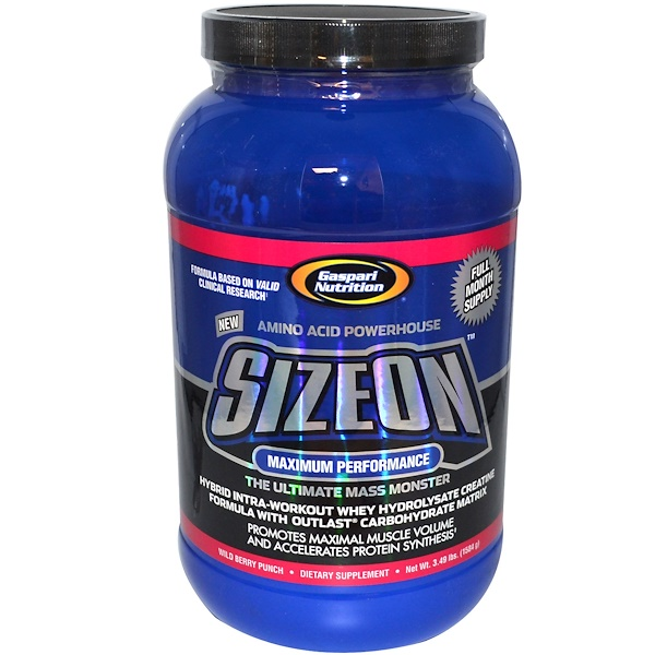Gaspari Nutrition, SizeOn, формула сывороточного гидролизата креатина, пунш из дикорастущих ягод, 3,49 фунта (1584 г) (Discontinued Item)