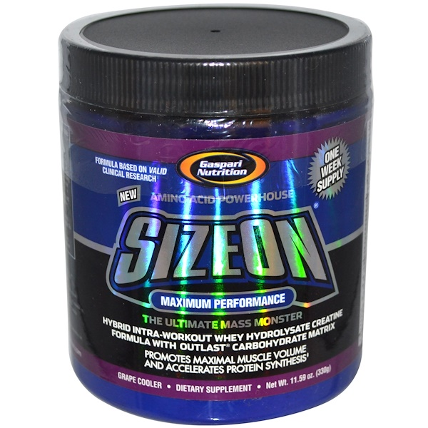 Gaspari Nutrition, SizeOn, Whey Hydrolysate Creatine Formula, Grape Cooler, 11.59 oz (330 g) (Discontinued Item)