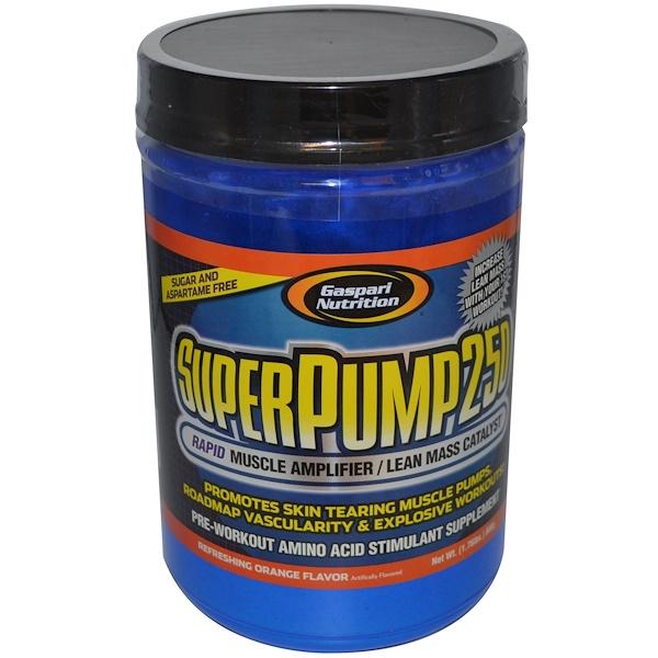 Gaspari Nutrition, SuperPump 250, Rapid Muscle Amplifier, Refreshing Orange Flavor, 1.76 lbs (800 g) (Discontinued Item)