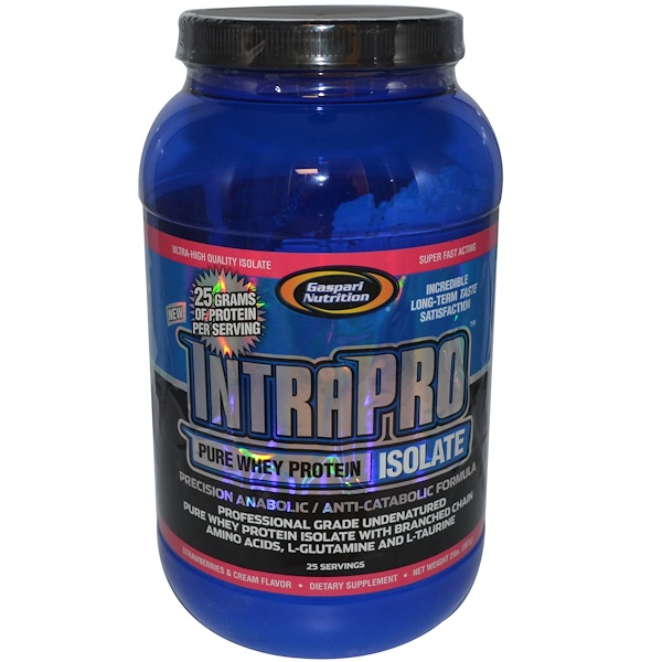 Gaspari Nutrition, IntraPro, Pure Whey Protein Isolate, Strawberries & Cream Flavor, 2 lbs (907 g) (Discontinued Item)
