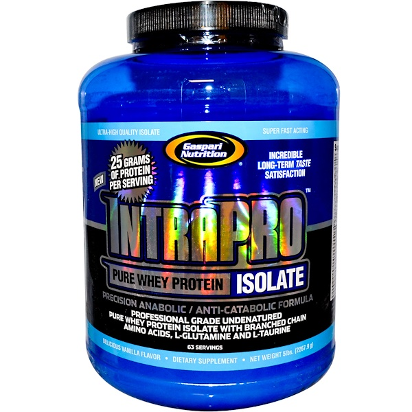 Gaspari Nutrition, IntraPro, Pure Whey Protein Isolate, Delicious Vanilla Flavor, 5 lbs (2267.9 g) (Discontinued Item)