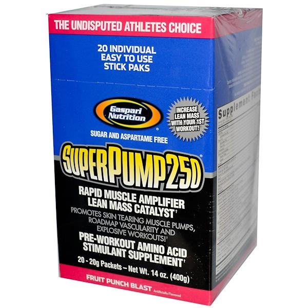 Gaspari Nutrition, SuperPump250, Rapid Muscle Amplifier, Fruit Punch Blast, 20 Packets, 20 g Each (Discontinued Item)