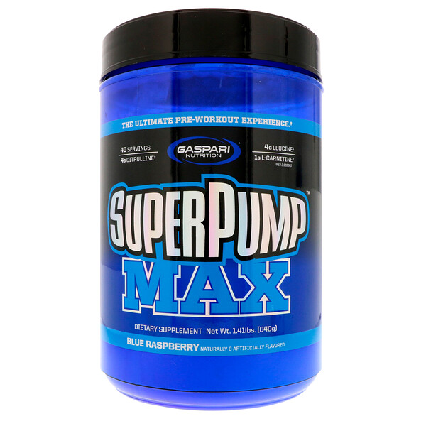 Gaspari Nutrition, SuperPump Max, קרח פטל כחול, 640 גרם (1.41 lbs)