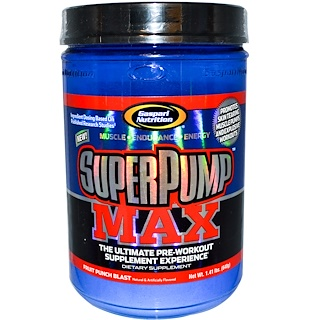 Gaspari Nutrition, SuperPump Max, The Ultimate Pre-Workout Supplement, Fruit Punch Blast, 1.41 lbs (640 g)