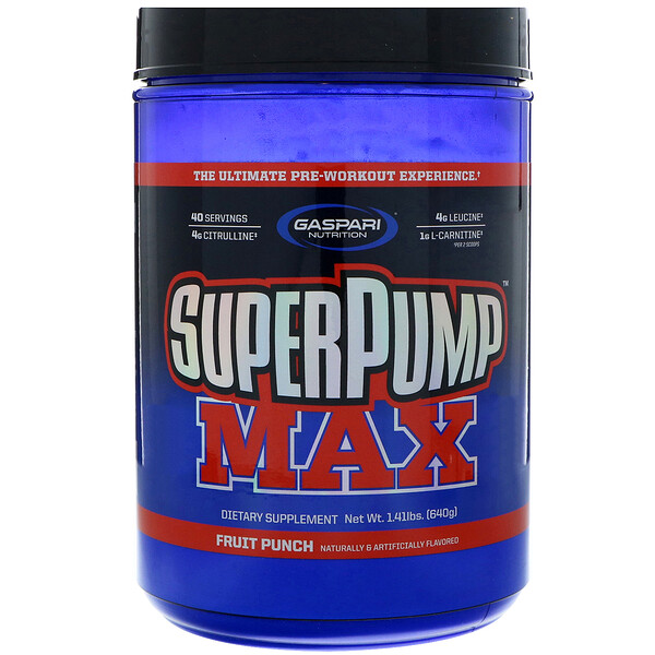 Gaspari Nutrition, SuperPump Max, The Ultimate Pre-Workout Supplement, Fruit Punch Blast, 1.41 lbs (640 g) (Discontinued Item)