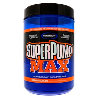 Gaspari Nutrition, スーパーパンプマックス、 究極プレワークアウト サプリメント、 リフレッシングオレンジ、 1.41 lbs (640 g)