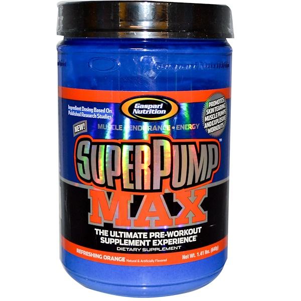 Gaspari Nutrition, SuperPump Max, The Ultimate Pre-Workout Supplement, Refreshing Orange, 1.41 lbs (640 g)