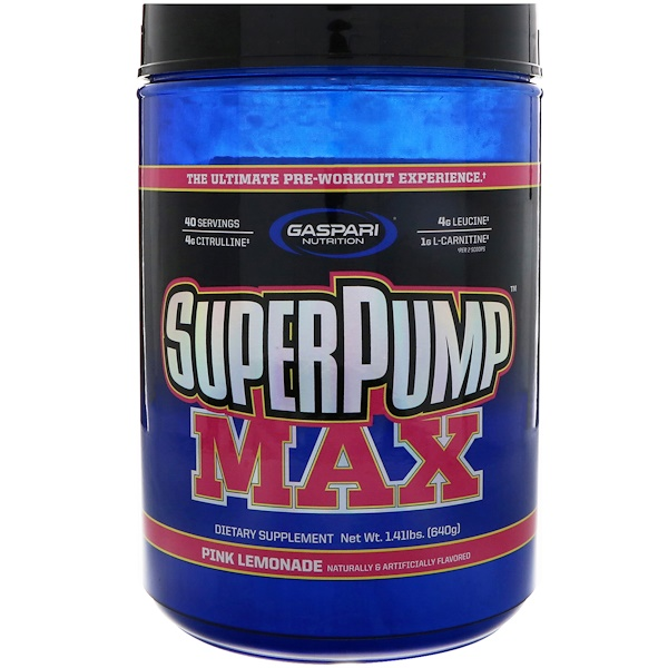 Gaspari Nutrition, スーパーパンプマックス、 究極プレワークアウト サプリメント、 ピンクレモネード、 1.41 lbs (640 g) (Discontinued Item)