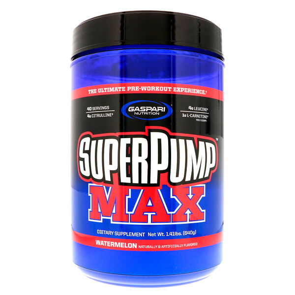 Gaspari Nutrition, SuperPump Max, Watermelon, 1.41 lbs (640 g)