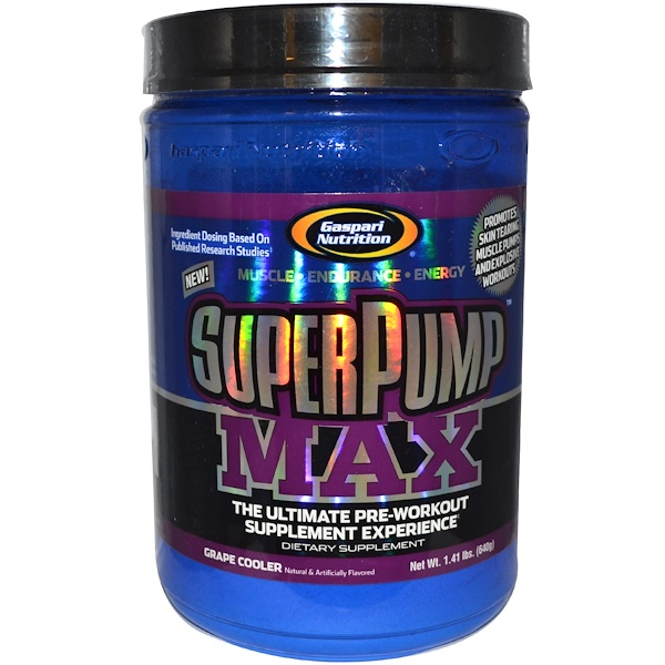 Gaspari Nutrition, SuperPump Max, The Ultimate Pre-Workout Supplement, Grape Cooler, 1.41 lbs (640 g) (Discontinued Item)
