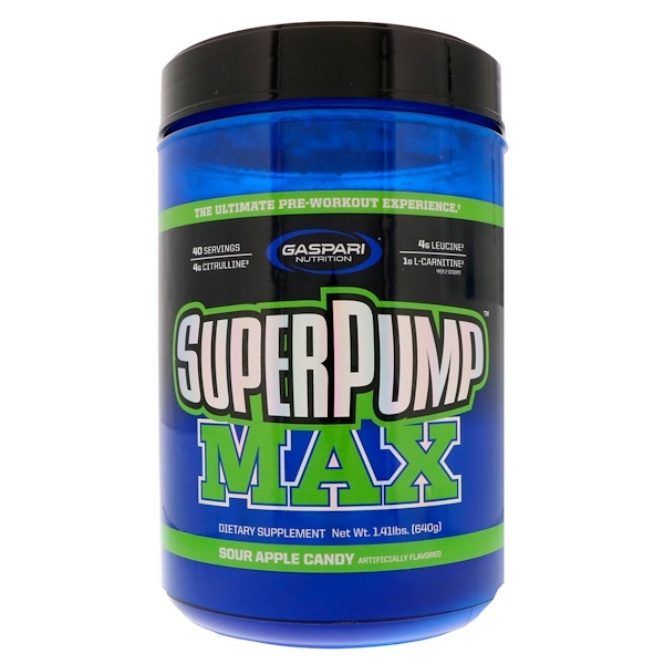 Gaspari Nutrition, SuperPump Max, Sour Apple Candy, 1.41 lbs (640 g)