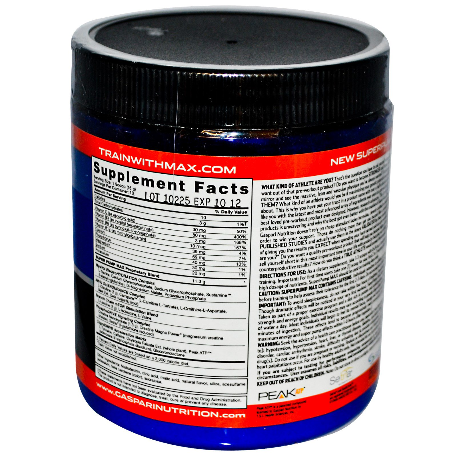 Gaspari Nutrition Superpump Max The Ultimate Pre Workout Supplement Refreshing Orange 5 64 Oz 160 G Discontinued Item