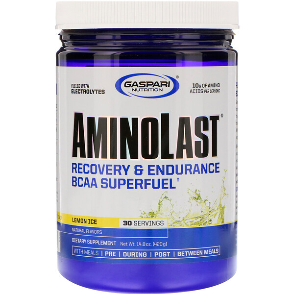 Aminolast, Recovery & Endurance BCAA Superfuel, Lemon Ice, 14.8 oz (420 g)