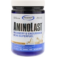 Супертопливо для восстановления и повышения выносливости с BCAA (аминокислоты с разветвленной цепью) Aminolast, Манго-апельсин, 14,8 oz (420 г) - фото