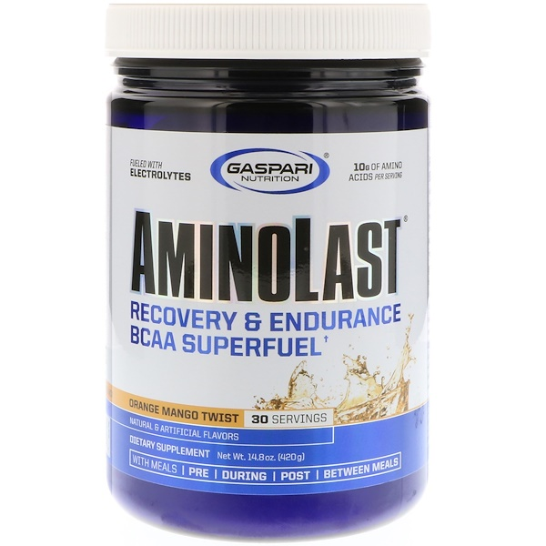 Gaspari Nutrition, Супертопливо для восстановления и повышения выносливости с BCAA (аминокислоты с разветвленной цепью) Aminolast, Манго-апельсин, 14,8 oz (420 г)