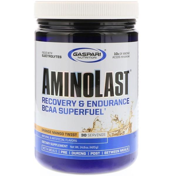 Gaspari Nutrition, Aminolast, Recovery & Endurance BCAA Superfuel, Orange Mango Twist, 14.8 oz (420 g)