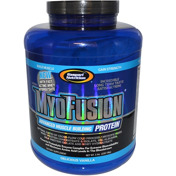 Gaspari Nutrition, MyoFusion, Advanced Muscle Building Protein, Delicious Vanilla, 5 lbs (2267.96 g) (Discontinued Item)