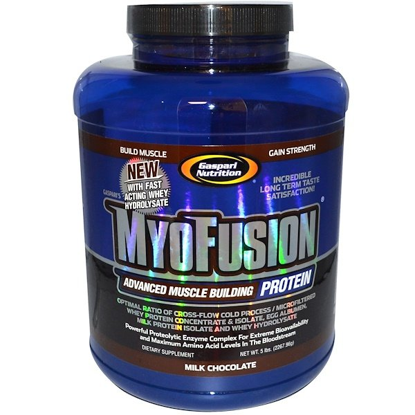 Gaspari Nutrition, MyoFusion, Advanced Muscle Building Protein, Milk Chocolate, 5 lbs (2267.96 g) (Discontinued Item)