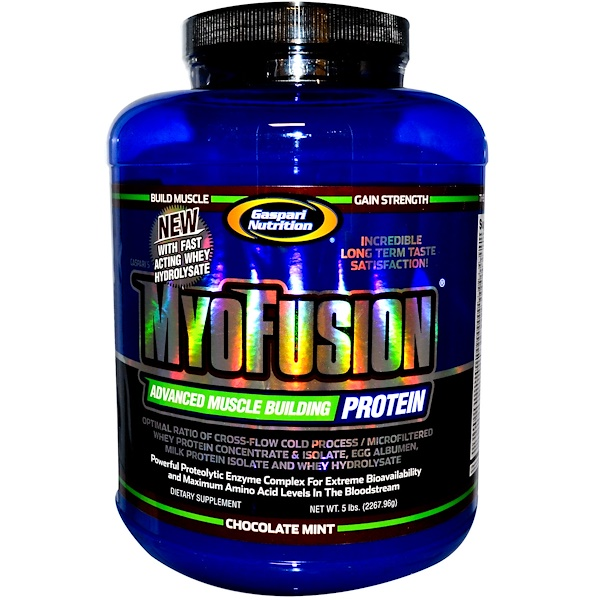 Gaspari Nutrition, MyoFusion, Advanced Muscle Building Protein, Chocolate Mint, 5 lbs (2267.96 g) (Discontinued Item)