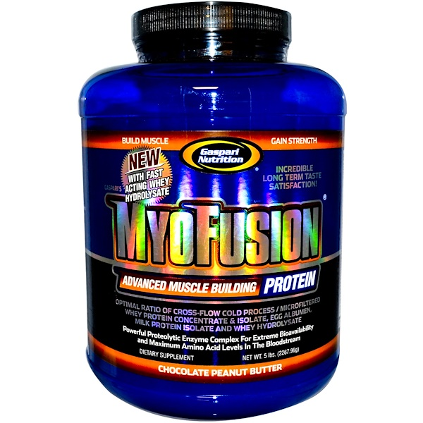 Gaspari Nutrition, MyoFusion, Advanced Muscle Building Protein, Chocolate Peanut Butter, 5 lbs (2267.96 g) (Discontinued Item)