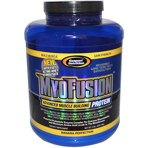 Gaspari Nutrition, MyoFusion, Advanced Muscle Building Protein, Banana Perfection, 5 lbs (2267.96 g) (Discontinued Item)