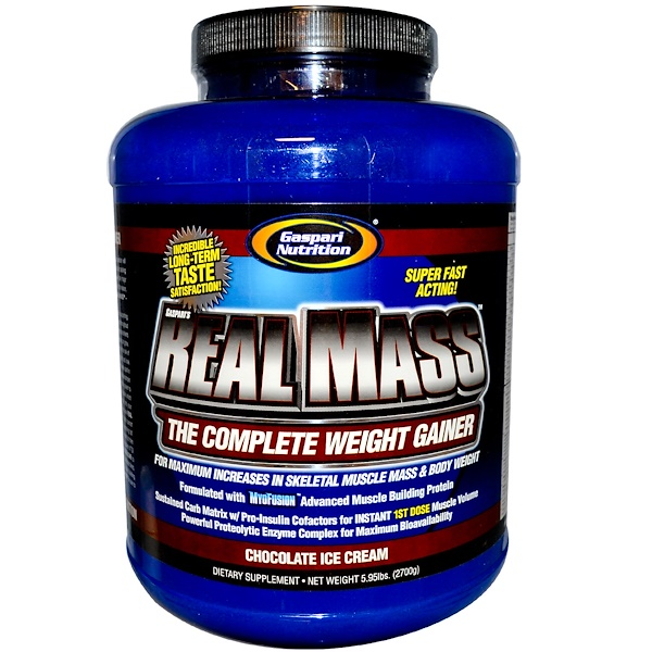 Gaspari Nutrition, Real Mass, The Complete Weight Gainer, Chocolate Ice Cream Flavor, 5.95 lbs (2700 g) (Discontinued Item)