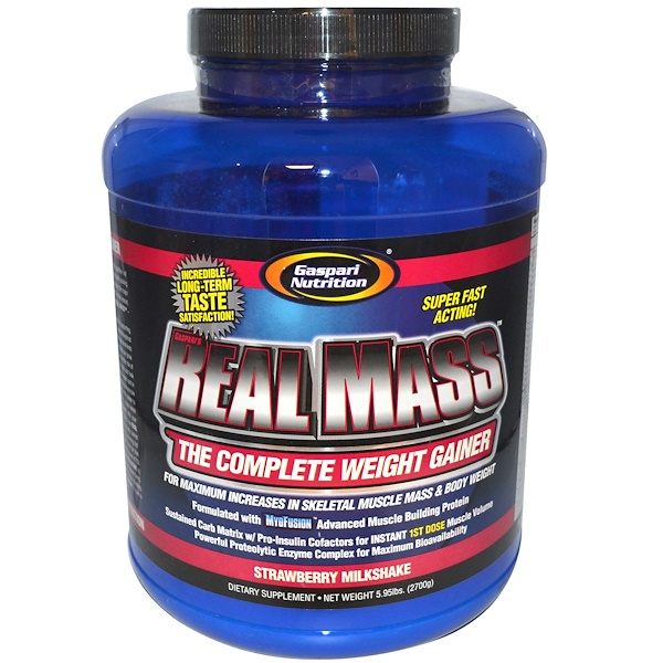 Gaspari Nutrition, Real Mass, The Complete Weight Gainer, Strawberry Milkshake, 5.95 lbs (2700 g) (Discontinued Item)