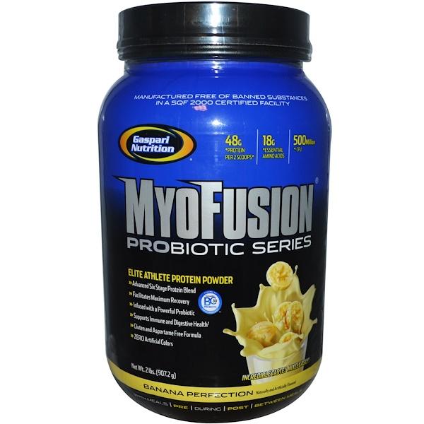 Gaspari Nutrition, MyoFusion Probiotic Series, Elite Athlete Protein Powder, Banana Perfection, 2 lbs (907.2 g) (Discontinued Item)