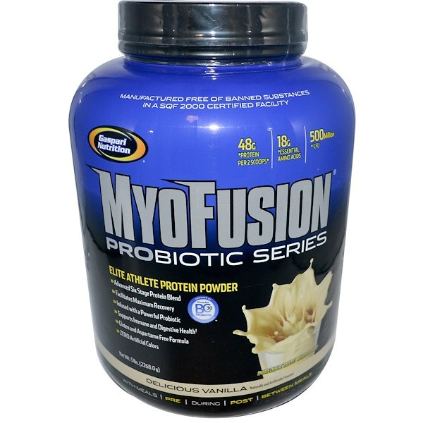 Gaspari Nutrition, MyoFusion Probiotic Series, Elite Athlete Protein Powder, Delicious Vanilla, 5 lbs (2268.0 g) (Discontinued Item)