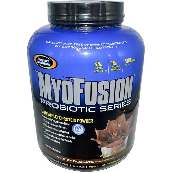 Gaspari Nutrition, MyoFusion Probiotic Series, Elite Athlete Protein Powder, Milk Chocolate, 5 lbs (2268.0 g) (Discontinued Item)
