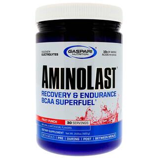 Gaspari Nutrition, Aminolast,體力恢復和耐力支鏈氨基酸超級燃料,水果混合飲料,14.8盎司(420克)