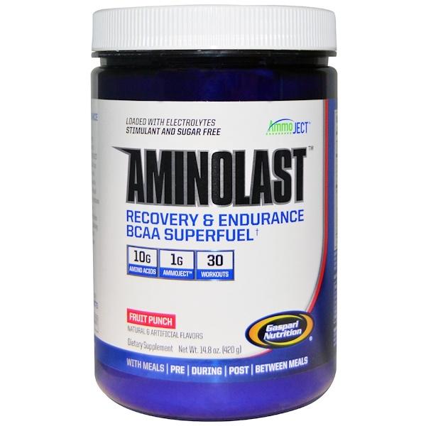 Gaspari Nutrition, Aminolast、回復&持久力・分岐鎖アミノ酸の超燃料、フルーツパンチ、14.8 oz (420 g)