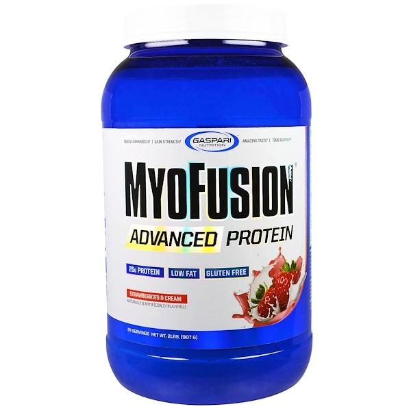 Gaspari Nutrition,  MyoFusion, Advanced Protein, Strawberries & Cream, 2 lbs (907 g) (Discontinued Item)