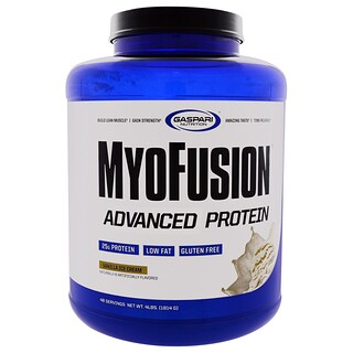 Gaspari Nutrition, MyoFusion、アドバンスドプロテイン、バニラアイスクリーム、4ポンド(1814 g)