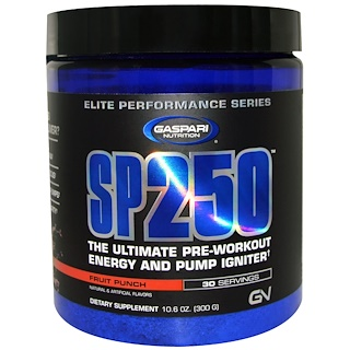 Gaspari Nutrition, SP250, Pre-Workout, Fruit Punch, 10.6 oz (300 g)