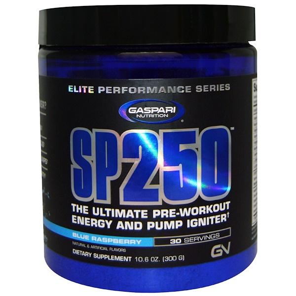 Gaspari Nutrition, SP250, Pre Workout, Blue Raspberry, 10.6 oz (300 g) (Discontinued Item)