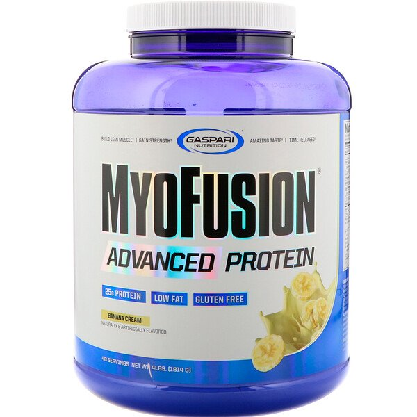 Gaspari Nutrition, MyoFusion, Advanced Protein, Banana Cream, 4 lbs (1814 g)