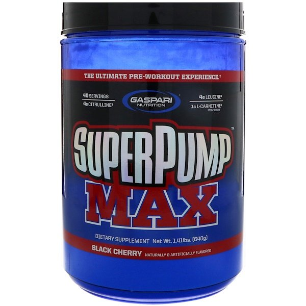 Gaspari Nutrition, SuperPump Max, The Ultimate Pre-Workout Experience, Black Cherry, 1.41 lbs (640 g) (Discontinued Item)