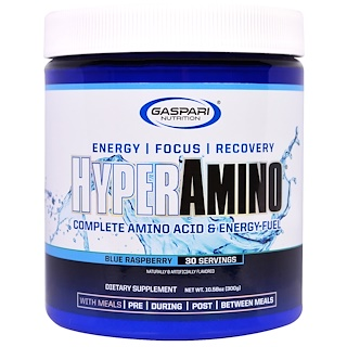 Gaspari Nutrition, HyperAmino, Blue Raspberry, 10.58 oz (300 g)